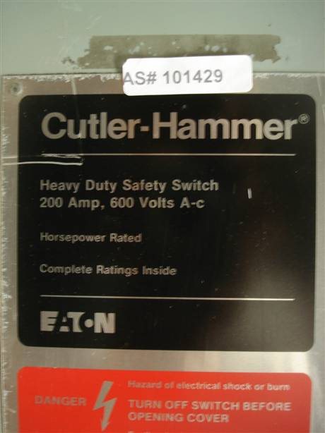Culter-Hammer Safety Switch  600V A-C 200 Amp.