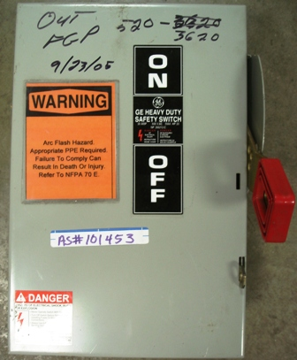 GE Safety Switch 30amp., 600Vac, Max. HP 20