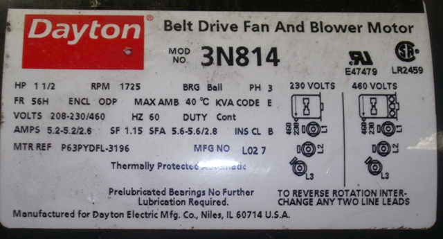 DAYTON Belt Drive Fan And Blower Motor HP:1.5 208-230-460V PH:3