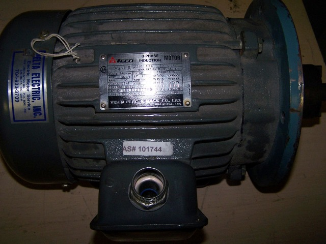 TECO Motor 3/4HP 230/460 855RPM 3.2/1.6AMPS 3PH TYPE:AEEA